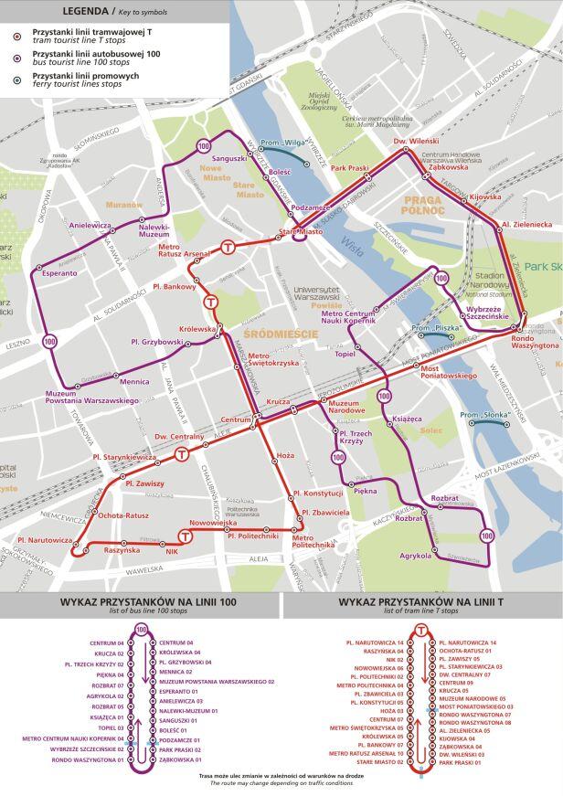 Mapa linii turystycznych  ZTM